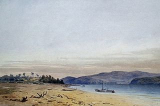 Das Dorf Permskoje am Amur, Gemälde von F. Baganez (1866)