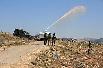 Skunk (weapon) - Skunk in action against targets in Bil'in