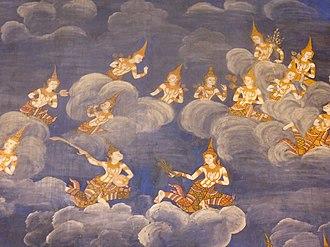 Heaven - Devas sporting in heaven. Mural in Wat Bowonniwet