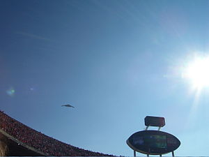 Arrowhead Stadium - A B-2 Spirit, based at nearby Whiteman Air Force Base, flies over Arrowhead prior to the 2006 Chiefs-Raiders game.