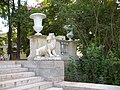 100. Pavlovsk Park. Lion and two vases of the Great Stone Staircase.jpg
