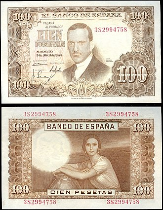 Spanish peseta - La Fuensanta on the reverse of 100 Spanish pesetas, 1953