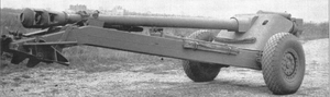 105mm Gun T8 - Prototype 105 mm T8 Anti-tank gun with carriage T17 in travel mode, with early style combat wheels prior to change to magnesium wheels.