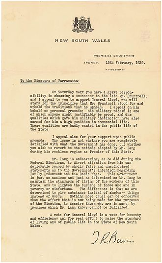 Electoral district of Parramatta - Letter by Sir Thomas Bavin to the electors of Parramatta to support the candidature of General Lloyd in 1929.