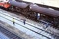 110R28281083 Bereich Wirtschaftsuniversität, Franz Josefs Bahnhof, Gleisbauarbeiten, einschottern.jpg