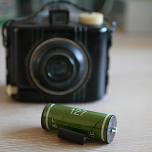 English: 127mm film with a Baby Brownie camera...