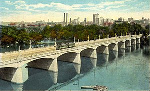 Richmond, Virginia - By the early 20th century, Richmond had an extensive network of electric streetcars, as shown here crossing the Mayo Bridge across the James River, ca. 1917