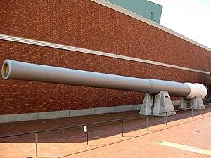 41 cm/45 3rd Year Type naval gun - 41 cm/45 3rd Year Type naval gun from the battleship ''Mutsu'' outside the Yamato Museum