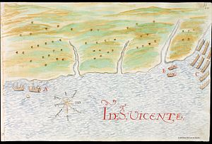 History of Saint Vincent and the Grenadines - Carib pirogues (C) attack by surprise two Spanish trading boats (B) sent by Nicolás de Cardona, ca. 1614.
