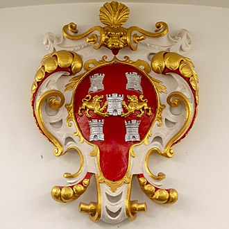 City of Winchester - The City Council's coat of arms, displayed in Winchester Guildhall