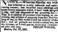 1821 Martha PhilipWoods BostonDailyAdvertiser Oct24.png