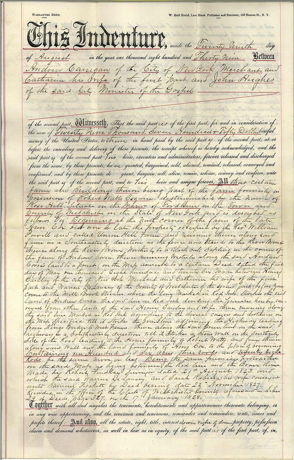 1839 Deed to St. John's College (Fordham University)