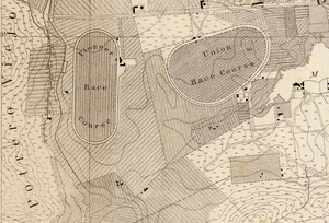Union Race Course - Image: 1857 Map of San Francisco's Mission District showing the race courses