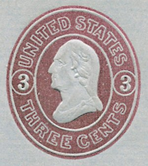Imprinted stamp - An example of an embossed postage stamp, called an indicium, on an 1861 U.S. letter sheet. Note the raised portions.