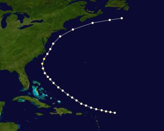 1867 Atlantic hurricane season - Image: 1867 Atlantic hurricane 2 track