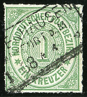 Postage stamps and postal history of the North German Confederation - Image: 1868 NDPB 1kr Mi 7 Sachsenhausen File 0163