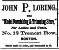 1873 John P Loring advert 12 Tremont Row Boston USA.png