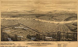 Goose Hollow, Portland, Oregon - Goose Hollow's contemporary boundary and place names overlaid onto 1879 map