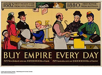 Empire Marketing Board - Image: 1882 First Frozen Lamb from New Zealand, 1880 First Butter from Australia