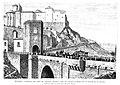 1884-09-15, La Ilustración Española y Americana, Toledo, funerales del cardenal Moreno, paso del cortejo fúnebre por el puente de Alcántara, Manuel Nao.jpg