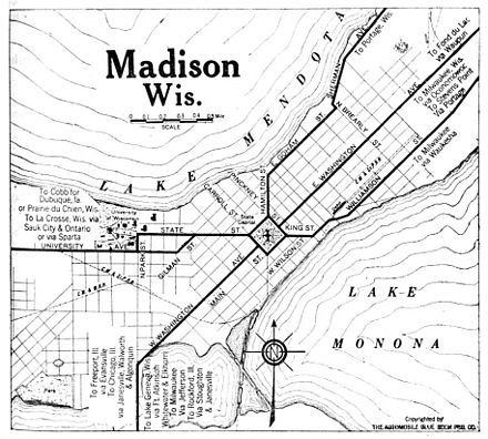 Map of Madison in 1920 1920 Madison Wisconsin Automobile Blue Book.jpg