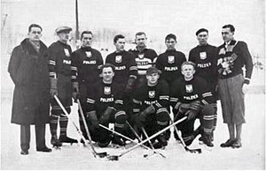 Ice hockey at the 1932 Winter Olympics - The Polish national team during the Olympics.