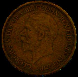 Penny (British pre-decimal coin) - Image: 1936 George V penny obverse