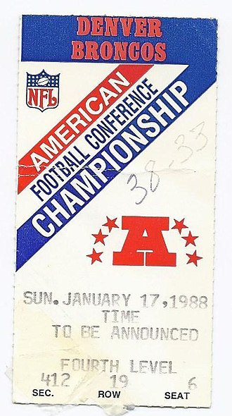 Denver Broncos - A ticket for the 1987–88 AFC Championship Game between the Browns and the Broncos.