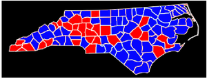 North Carolina gubernatorial election, 1992 - Image: 1992 Gov County