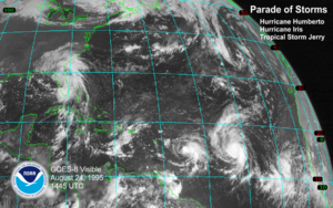Hurricane Luis - A satellite image of the Atlantic Ocean on August 24 including Humberto, Iris, Jerry, and two waves that would soon become Karen and Luis