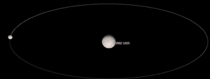 (55637) 2002 UX25 - A simulated circular orbit of 210 km diameter moon at a distance of 4770 km.