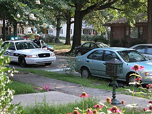 Traffic stop - A traffic stop on a residential street in Durham, North Carolina