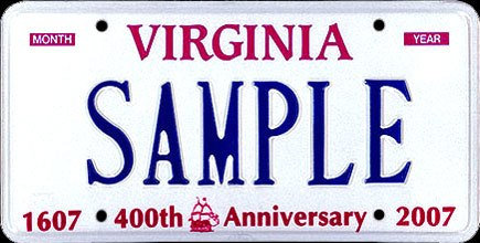 2003 Virginia License Plate Sample