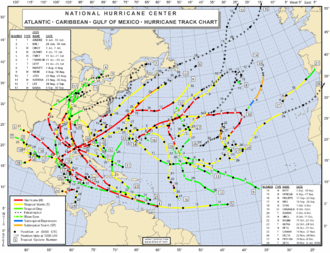 Tropical cyclone observation - Image: 2005 Atlantic hurricane season map