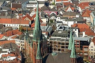 St Lambert's Church, Oldenburg - Aerial view of the St Lamberti Church in Oldenburg.