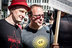 Netzpolitik.org - Netzpolitik.org authors Markus Beckedahl (right) and Andre Meister (left) at protest against treason investigations in Berlin, 1st of August 2015