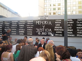 Carlos Menem - Demonstration during an anniversary of the AMIA bombing.