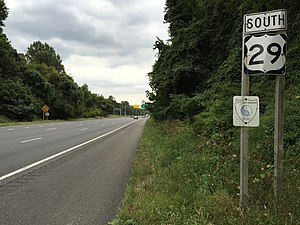 U.S. Route 29 in Maryland - View south along US 29 in Ellicott City. Note the 29th Infantry Division marker below the route shield.