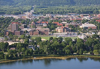Winona State University - The WSU main campus and its surroundings in Winona, Minnesota