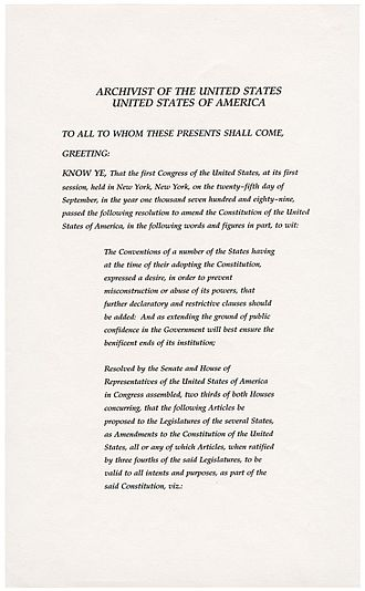 Twenty-seventh Amendment to the United States Constitution - Image: 27th Amendment Pg 1of 3 AC
