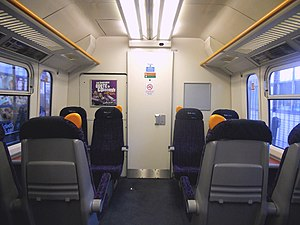 British Rail Class 465 - The interior of the First Class cabin, located in each DMCO vehicle at both front and rear of the train.