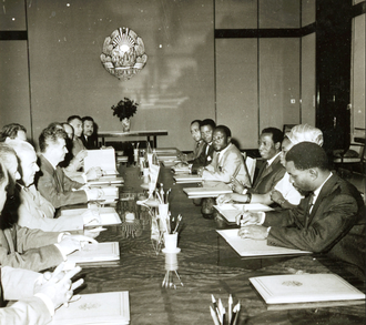 Alphonse Massamba-Débat - Massamba-Débat and meeting with Romania's Nicolae Ceaușescu, 1968