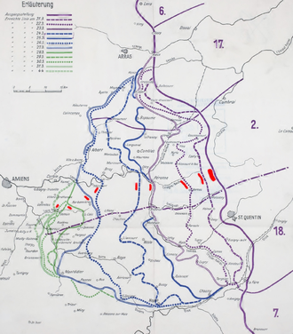 66th Division (United Kingdom) - Image: 66 Division on German map of Spring Offensive 4 April 1918