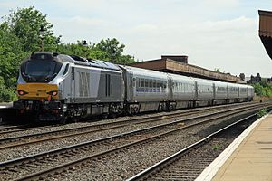 British Rail Class 68 - 68012 Chiltern Main Line from Birmingham Moor Street to London Marylebone at Leamington Spa.