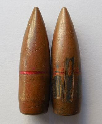 Cannelure - 7.62mm bullets fired and unfired showing a red cannelure