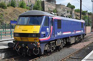 Caledonian Sleeper - First ScotRail liveried 90021 at Edinburgh Waverley in June 2009