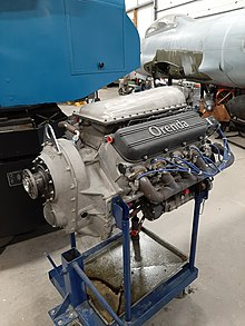 Picture of an Orenda OE600 V8 aircraft engine.