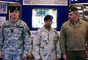 Desert Camouflage Uniform - U.S. Army soldiers in May 2005 wearing the Army Combat Uniform, Desert Camouflage Uniform, and a World War II–era uniform (left to right).