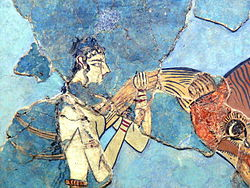 This Close Up Depicts A Possible Reconstruction Of The Fresco Depicting The  Grip Used By Bull Leapers.