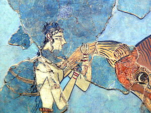 Bull-Leaping Fresco - This close-up depicts a possible reconstruction of the fresco depicting the grip used by bull-leapers.